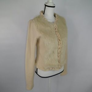 Urban Outfitters Wool Cardigan Silk Lined Fur